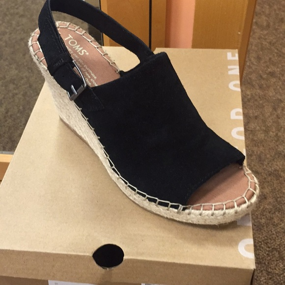 22678f3d4b5fd Toms Monica black suede brand new wedge Boutique